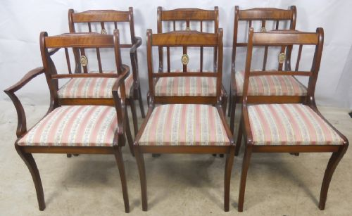 Antique Regency Style Set of Six Mahogany Dining Chairs - SOLD